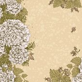 Vintage Beige Color Decorative Background Of Stylized Flowers And Berries