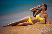 Brunette Woman Yellow Swimsuit Sea