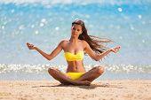Brunette Woman Yellow Swimsuit Yoga