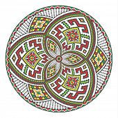 round ornament of embroidered good like handmade cross-stitch ethnic Ukraine pattern. template for goods of different sizes