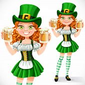 Beautiful Girl Leprechaun Hold A Two Goblets Of Beer Isolated On A White Background