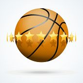 Vector illustration of basketball ball with golden stars