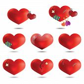 Set Icons Of Hearts, Isolated On White Background, Vector
