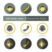 Set of call center icons in different flat styles. Vector
