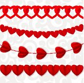 Red Seamless Paper Garlands From Hearts Valentine On White Seamless Pattern Background