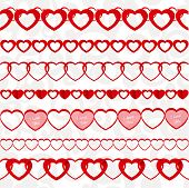 Red Seamless Paper Garlands From Hearts Set On White Seamless Pattern Background