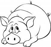 Pig Cartoon Laying Isolated On White Background - Black And White Illustration