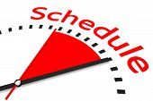 Clock With Red Seconds Hand Area Schedule Illustration
