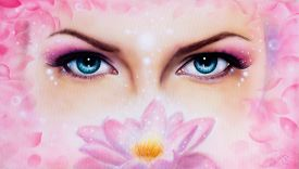 stock photo of rosa  - A pair of beautiful blue women eyes beaming up enchanting from behind a bloming rosa lotus flower - JPG