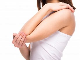 pic of elbow  - Acute pain in a woman elbow - JPG