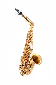picture of wind instrument  - Golden alto saxophone classical instrument isolated on white - JPG