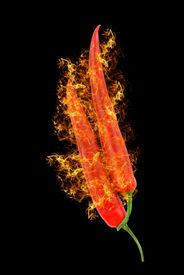 image of red hot chilli peppers  - red hot chili peppers isolated on black - JPG