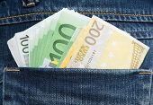 Euro Banknotes In Hip-Pocket Of Jeans
