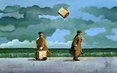 stock photo of light weight  - two men walking in the countryside on a rainy day hanne both a suitcase but one of them is light and flies like a kite - JPG