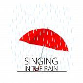 image of rain  - singing in the rain color vector on white - JPG