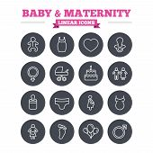 picture of footprint  - Baby and Maternity linear icons set - JPG