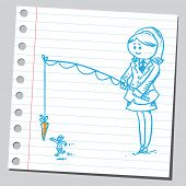 picture of carrot  - Businesswoman with motivation carrot on stick  - JPG