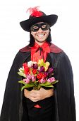 pic of zorro  - Young man in carnival coat isolated on white - JPG