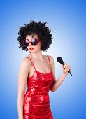 picture of pop star  - Pop star with mic in red dress on white - JPG