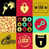 pic of lock  - Seamless background of lock icons and keys - JPG