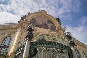 stock photo of municipal  - Closeup image of Municipal house in Prague - JPG