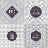 stock photo of ramadan calligraphy  - Set of various text on floral seamless pattern for Muslim community festival - JPG