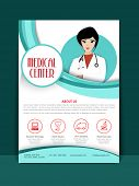pic of pharmaceutical company  - Medical Center Flyer or Brochure layout with illustration of a young female doctor - JPG