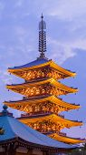 picture of shogun  - Japanese red pagoda in Asakusa temple at twilight - JPG