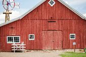 image of red barn  - Red old barn on historical farm in Parker Colorado - JPG