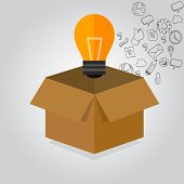 picture of thinking outside box  - think thinking outside the box idea icon illustration concept - JPG