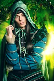 foto of fairy  - Noble fairy elf in the magic forest - JPG