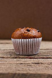 foto of chocolate muffin  - Homemade Chocolate chip muffin - JPG