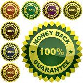 Vector money back label.