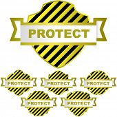 Vector protect shield. Vector set.