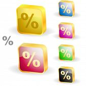 Percent button set. Vector illustration.