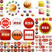 Botones RSS. Gran colección de vector.