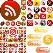 RSS glossy buttons. Vector great collection.