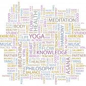 YOGA. Word collage on white background. Vector illustration.