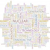 NUCLEAR. Word collage on white background. Vector illustration.