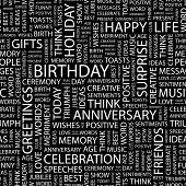 BIRTHDAY. Seamless vector background. Wordcloud illustration.