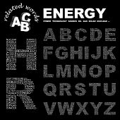 ENERGY. Wordcloud illustration. Vector letter collection.