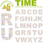 TIME. Vector letter collection. Wordcloud illustration.
