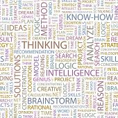 THINKING. Seamless vector background. Wordcloud illustration.