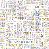 COFFEE. Seamless vector background. Wordcloud illustration.