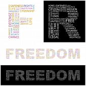 FREEDOM. Word collage. Vector illustration.