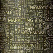 Постер, плакат: МАРКЕТИНГ Слово коллаж Векторные иллюстрации