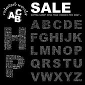 SALE. Vector letter collection. Wordcloud illustration.