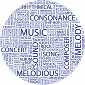 MUSIC. Word collage on white background. Vector illustration.
