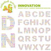 INNOVATION. Vector letter collection. Wordcloud illustration.