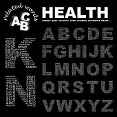 HEALTH. Vector letter collection. Illustration with different association terms.